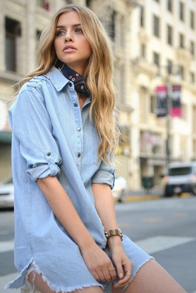Long Denim Shirt - orangeshine.com