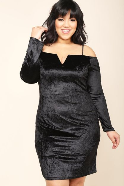 COLD SHOULDER VELVET DRESS - orangeshine.com
