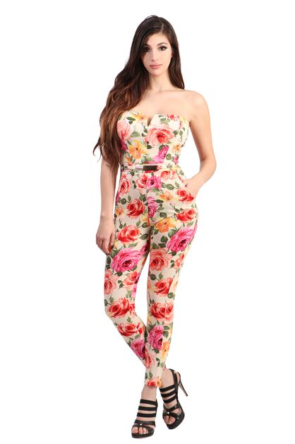 Tube top floral printed jumpsuit - orangeshine.com