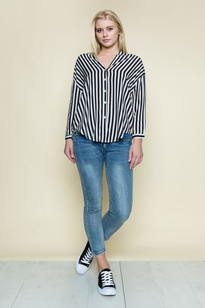 STRIPY DOUBLE V-NECK BLOUSE - orangeshine.com