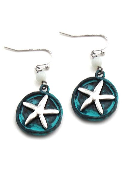Starfish Studded Coin Hook Earrings - orangeshine.com