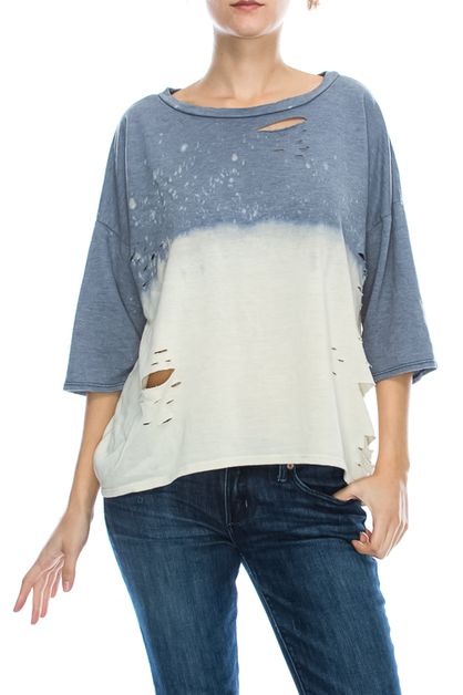 DISTRESSED DYE LOOSE TOP - orangeshine.com