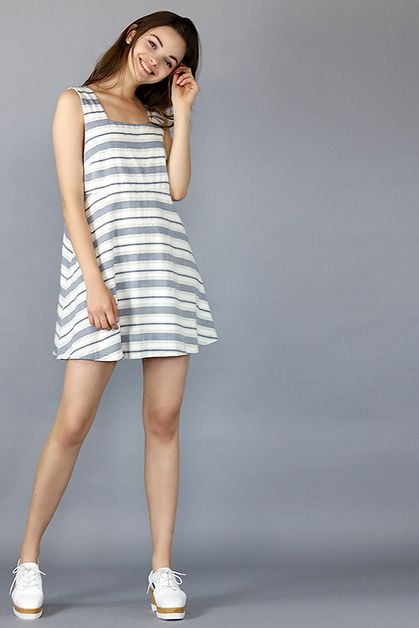 STRIPED PINAFORE DRESS - orangeshine.com