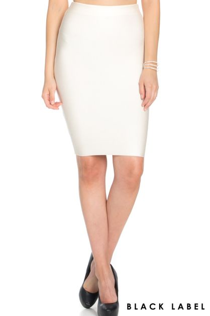 BASIC KNEE LENGTH BANDAGE SKIRT - orangeshine.com