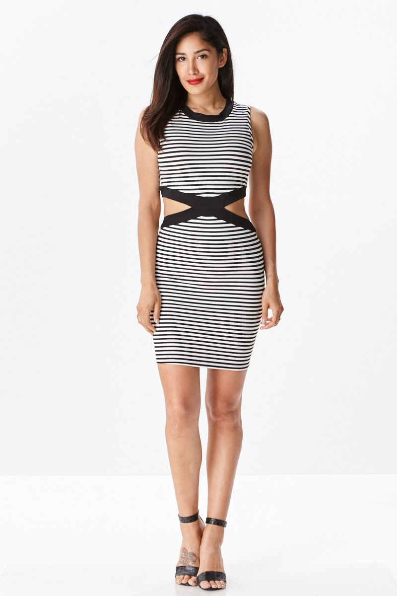 Knit Stripe Cut Out Dress - orangeshine.com