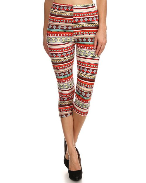 Tribal print legging capri - orangeshine.com