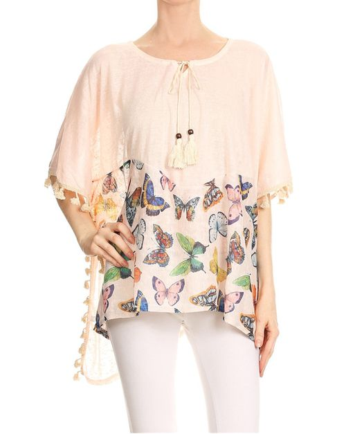butterfly print top  - orangeshine.com