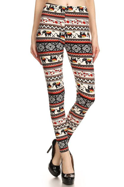 HIGH WAIST PRINTED LEGGINGS - orangeshine.com