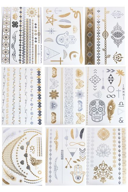 24 Cards Metallic Tattoos Set - orangeshine.com