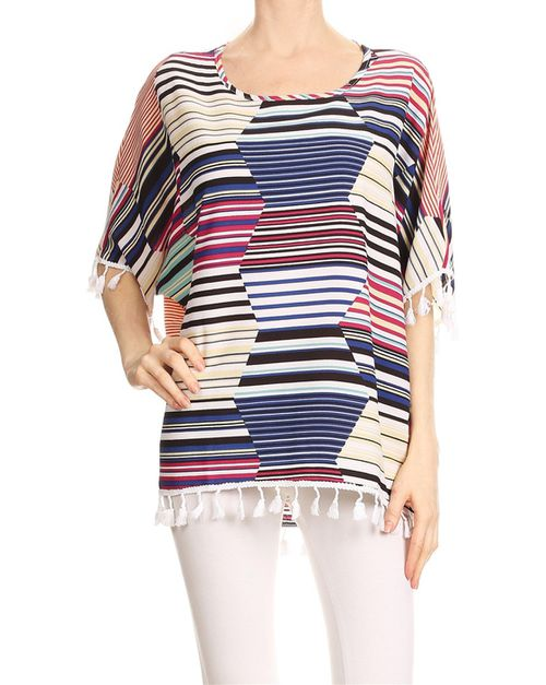 Stripe print tunic top - orangeshine.com