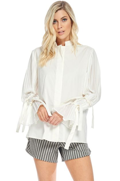 Tied & Pleated Blouse - orangeshine.com