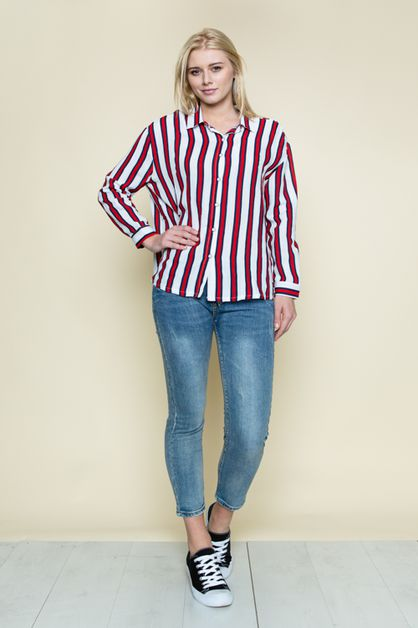 STRIPY DOUBLE V-COLLAR NECK BLOUSE - orangeshine.com
