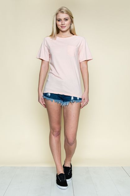 POCKET ROUND NECK BASIC TOP - orangeshine.com