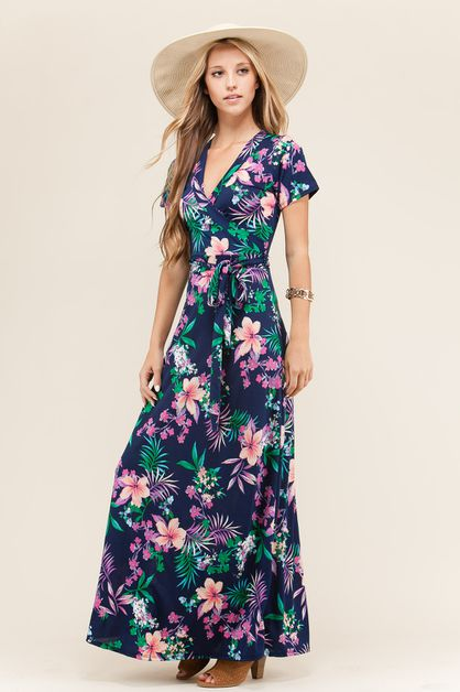 FLORAL SURPLUS MAXI KNIT DRESS  - orangeshine.com