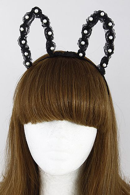 Bunny Inspired Hair Band With Pearls - orangeshine.com