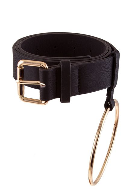 Metal ring accent faux leather belt - orangeshine.com