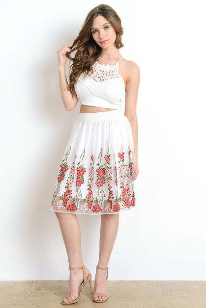 Flower Embroidered A-Line Skirt  - orangeshine.com