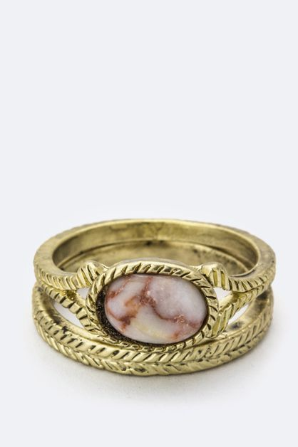 Oval Semi Precious Stone Ring - orangeshine.com