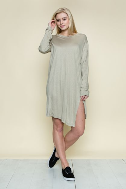 SIDE SLIT SIMPLE TUNIC - orangeshine.com