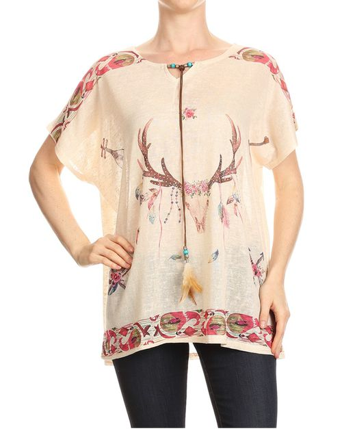 Deer print top  - orangeshine.com