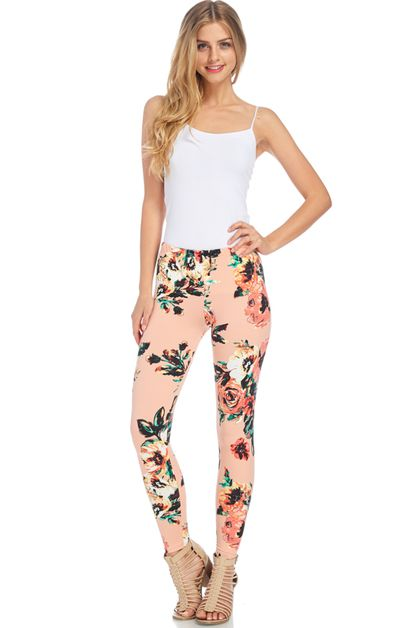 GORGEOUS FLORAL FITTED LEGGINGS - orangeshine.com