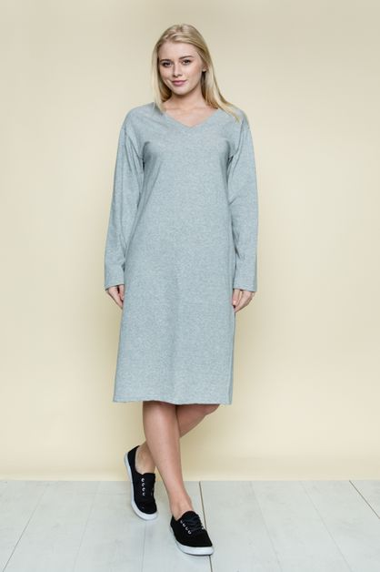 DOUBLE V-NECK SIMPLE DRESS - orangeshine.com