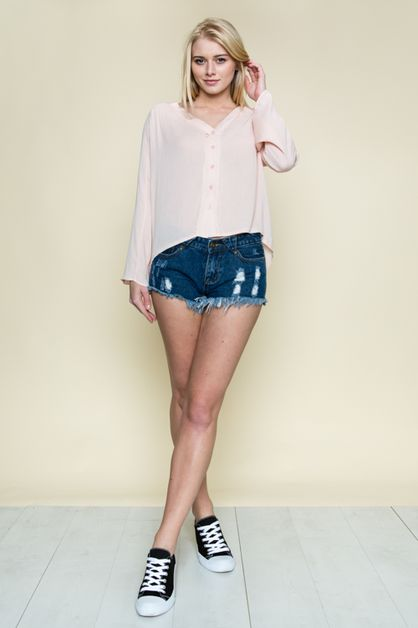 DEEP V-NECK BUTTON DOWN TOP - orangeshine.com