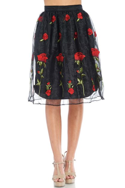 Embroidery rose midi skirt - orangeshine.com