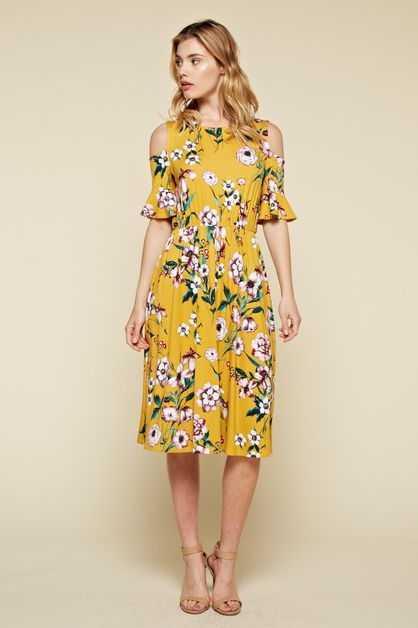 Cold Shoulder Floral Ruffle Dress - orangeshine.com
