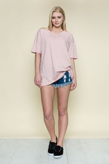 V-NECK BASIC BOXY TOP - orangeshine.com