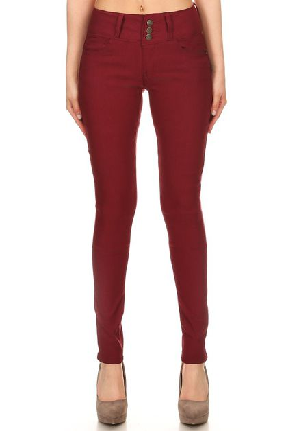 BURGUNDY HIGH WAIST STRETCH PANTS - orangeshine.com