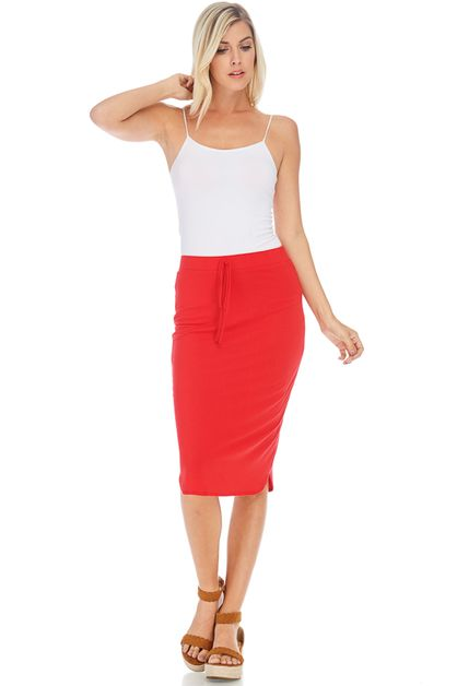 ELASTIC WAIST PENCIL SKIRT - orangeshine.com