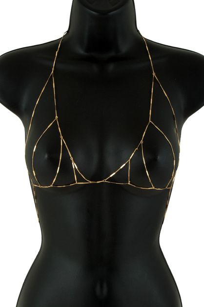 Metal body chain bra - orangeshine.com
