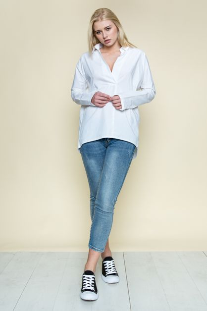 BACK BUTTON TUNIC SHIRT - orangeshine.com