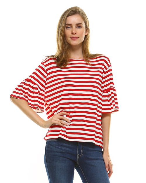 STRIPE BELL SLEEVE TOP - orangeshine.com
