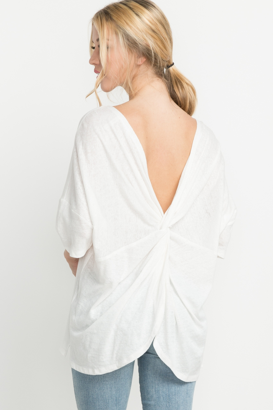 LINEN TWISTED-BACK OVERSIZED TOP - orangeshine.com