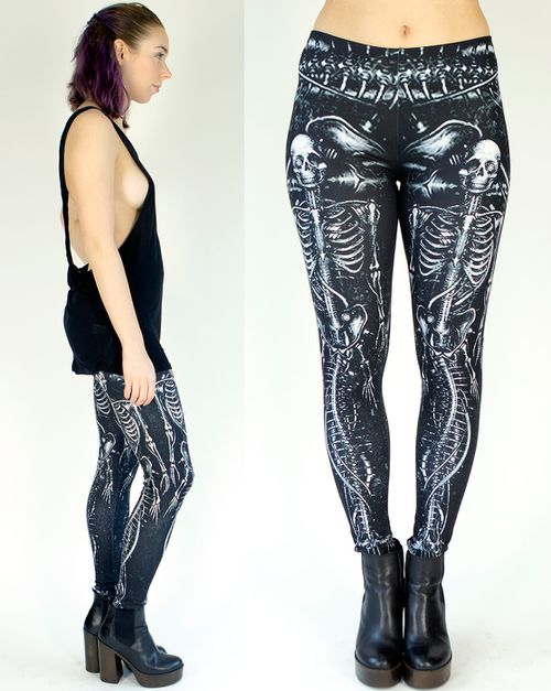 Custom Skeleton Print Leggings - orangeshine.com