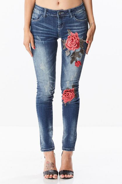 Embroidered Rose Jeans - orangeshine.com