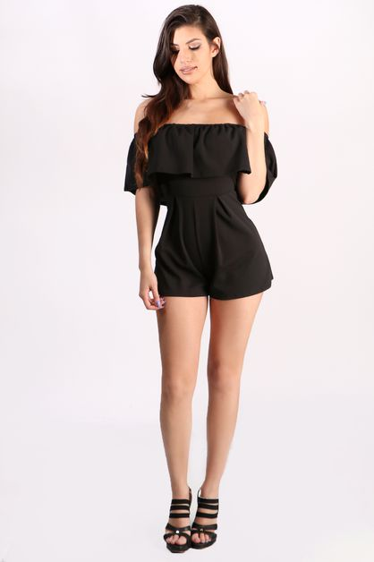 Off shoulder ruffles flare romper - orangeshine.com