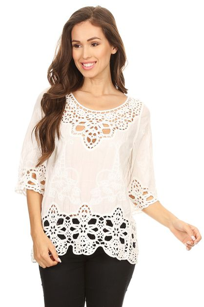 Bohemian linen top with embroider  - orangeshine.com