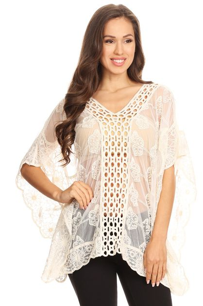 Lace loose fit embroider top  - orangeshine.com