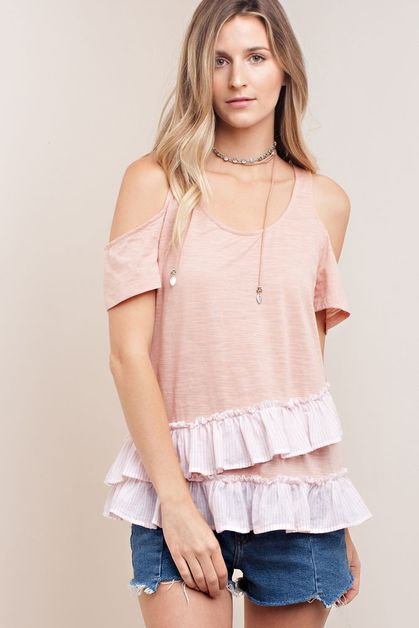 COLD SHOULDER WITH STRIPE RUFFLE TOP - orangeshine.com