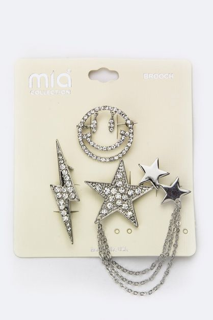 Mix Crystal Pin Brooches Set - orangeshine.com