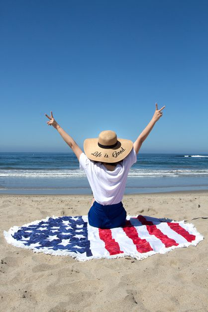 USA flag beach throw - orangeshine.com