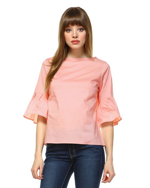 POPLIN BOX PLEAT BELL SLEEVE TOP - orangeshine.com