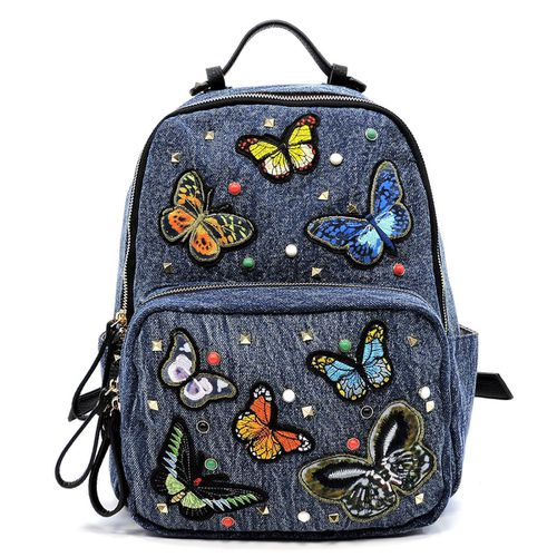 Butterfly Embroidery Denim Backpack - orangeshine.com