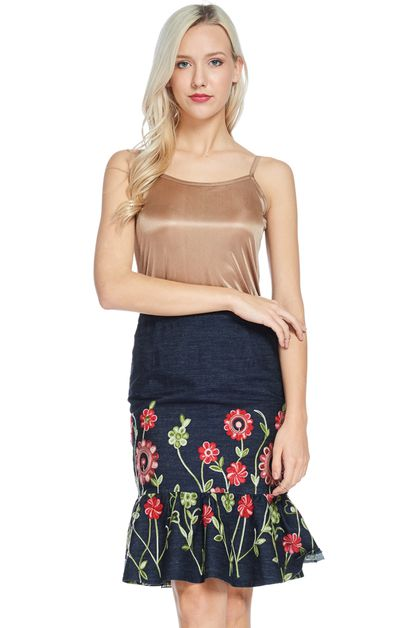 Floral Denim Skirt - orangeshine.com