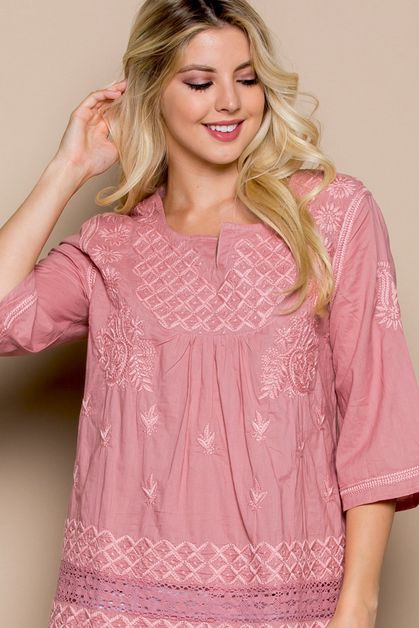 Tunic Floral Embroidery Lace Top - orangeshine.com