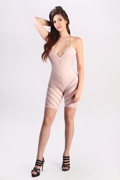 crossed back spaghetti strap romper - orangeshine.com