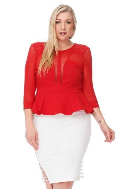 3/4 SLEEVE PEPLUM TOP-PLUS - orangeshine.com